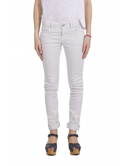 AGLINI Jeans Color Bianco Calce Modello Skinny a Gamba Dritta Modello Sandra