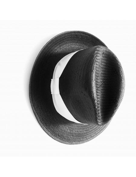 Merci Cappello Modello Panama Nero con Fascia Bianca