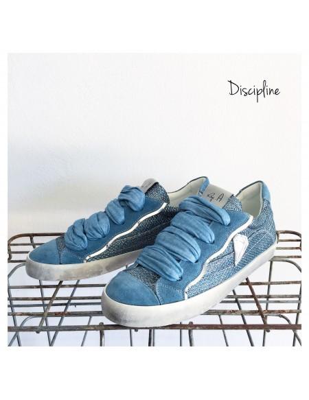 Sneakers Regia Color Azzurro con Nastri e Dettagli Lurex